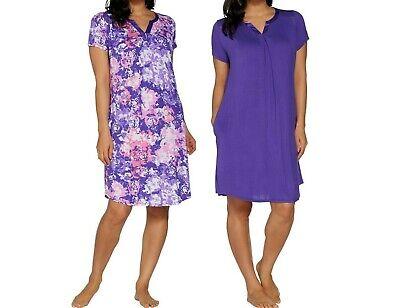 Carole Hochman Wood Block Floral Rayon-Spandex Sleepshirt Set Purple 1X Size