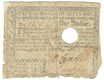 Colonial Massachusetts Spanish Milled Dollar May 5, 1780 $1 Note FR-M278 Very Gd
