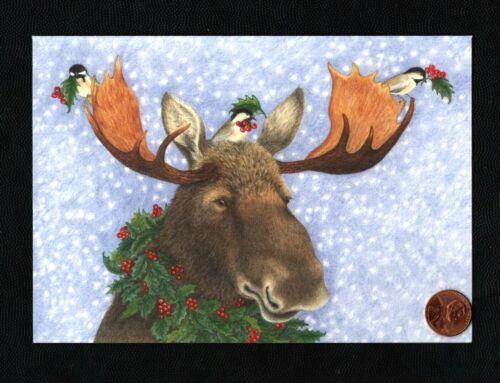 Christmas Moose Antlers Chickadee Birds - By PARIS BOTTMAN - Greeting Card New