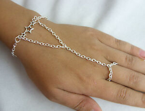 Silver Tone Hand Harness,Bracelet, Ring Armour, Slave Chain, Wish Stars Charm