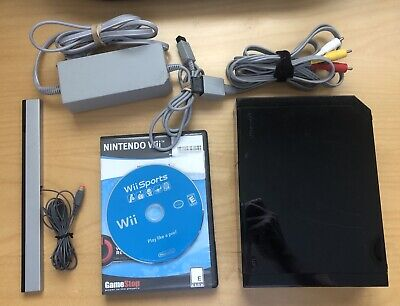 Nintendo Wii Black Console With Cords & Sensor Bar RVL-001 + Sports LOT Bundle
