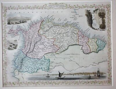 Original antique map of VENEZUELA, NEW GRANADA, ECUADOR Rapkin & Tallis 1851