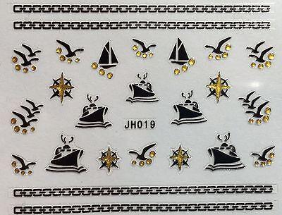 Nail Art 3D Decal Stickers Curise Ship Sail Boat Beach Birds Sea Gull JH019