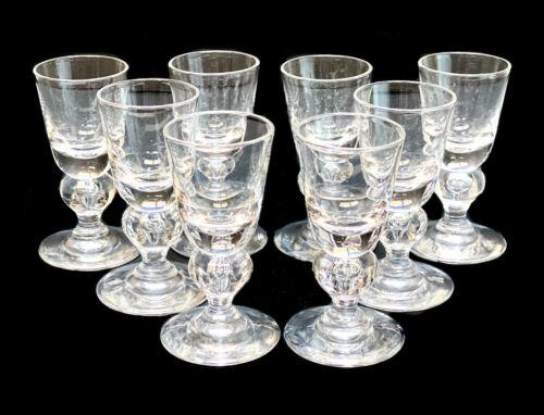 8 Steuben Cut Glass Teardrop Cordial Wine Goblets Baluster Stem, #7877 in Box