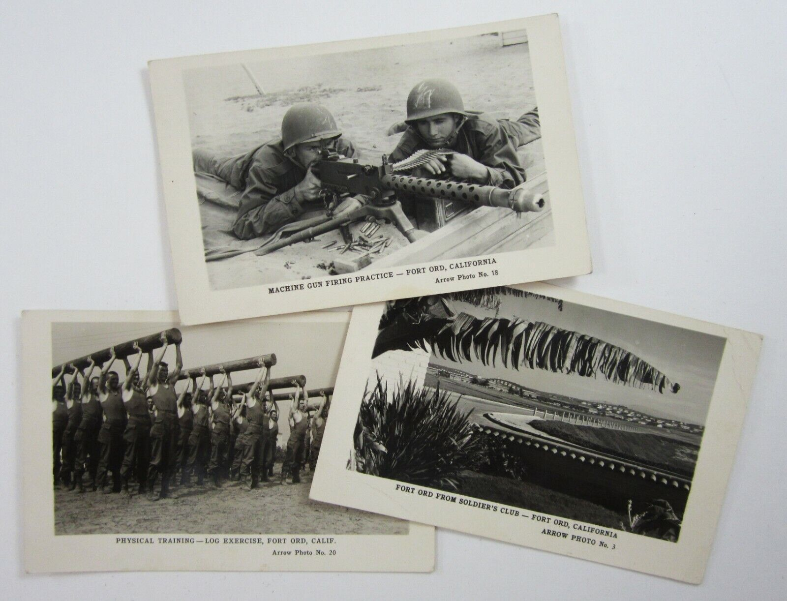 RPPC Fort Ord Army Post 7th ID Machine Gun Training Real Photo Postcards 1949