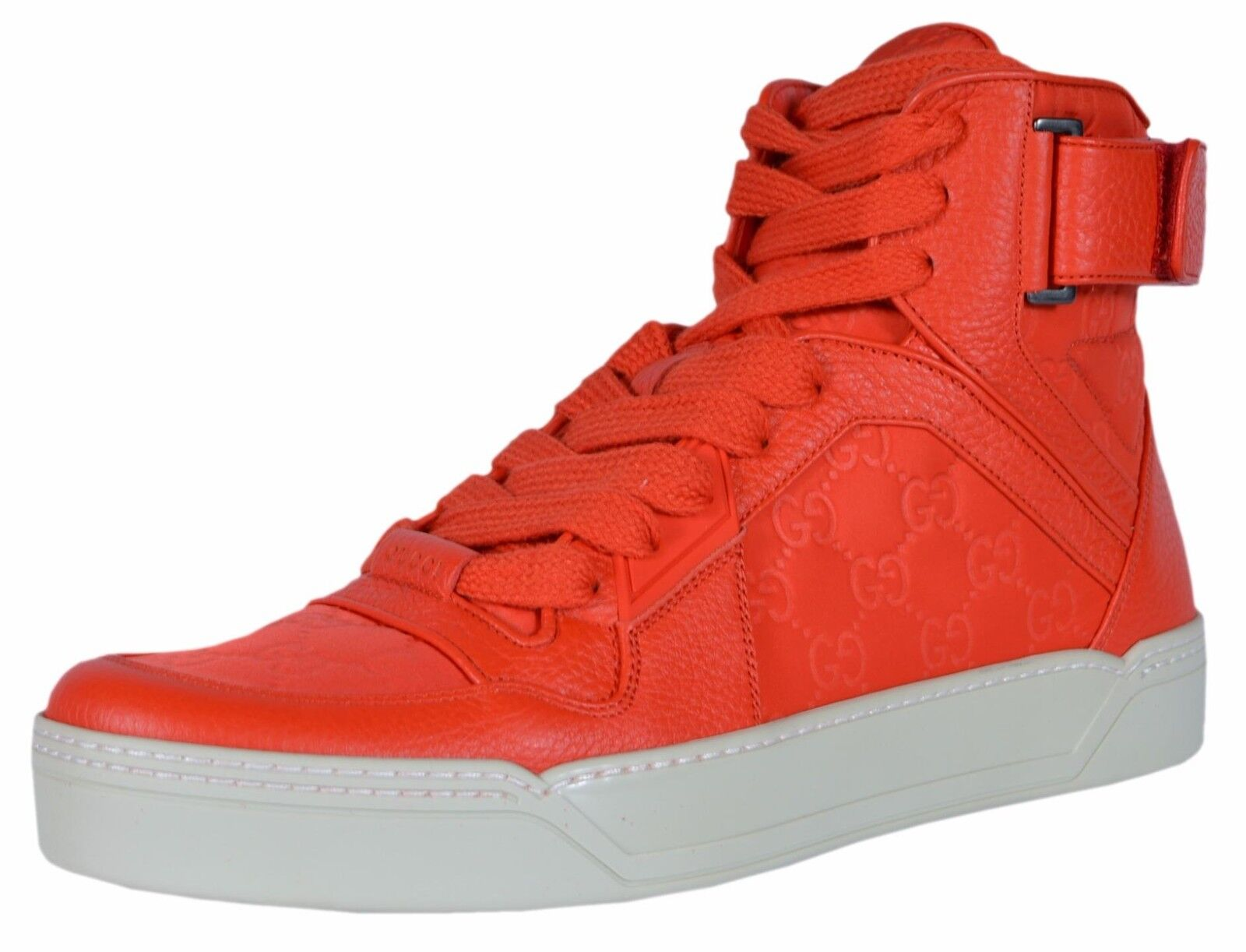 NEW Gucci Men's Red Nylon Leather GG Guccissima High Top Sneakers Shoes