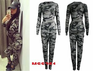 ladies co ord stretch army camouflage print jogging suit set womens tracksuit ebay. Black Bedroom Furniture Sets. Home Design Ideas