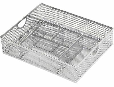 Ybm Home Office Desk Drawer Tray 6 Compartments Metal Mesh Silver 2262vc