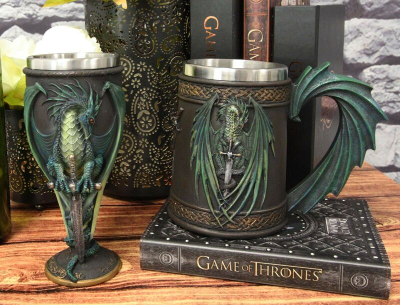 Dragons Lair Winged Dragon With Skull Blade Sword Drink Mug And Wine Goblet Set