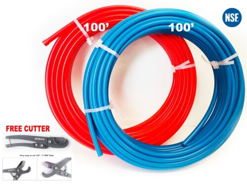 """2 rolls 3/4"""" x 100ft (200ft) Blue&Red  PEX  Pipe/Tubing  with Free Cutter"""