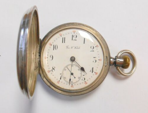 Rare George W. Welsh 900 Swiss Silver Hunter Case Mens Pocket Watch Circa 1880