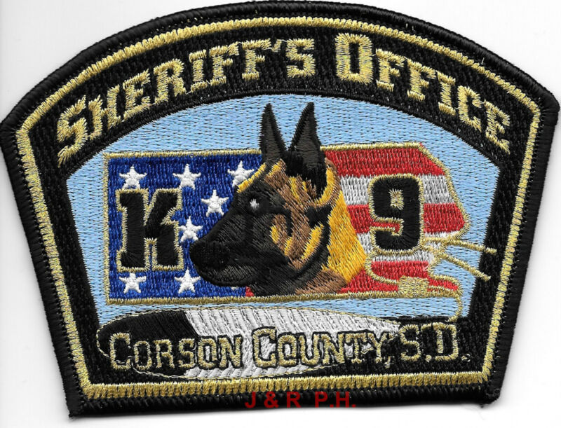"Corson County Sheriff  K-9, SD (5"" x 3.5"" size) shoulder police patch (fire)"