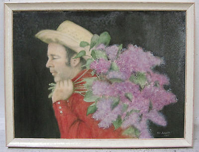 Frederick Sosath Signed Original Vintage California Art Cowboy Flowers Southwest