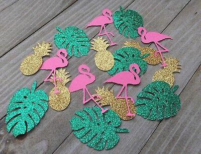 100 Tropical Confetti, Pink Flamingos, Pineapples, Tropical Lead, Luau Decor (Decorative Pineapple)