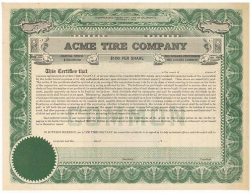 Acme Tire Company. Stock Certificate. California