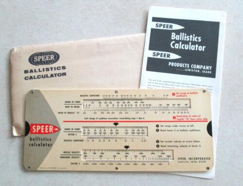 Vintage Speer Ballistics Calculator 1956