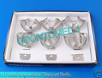6 Dental Impression Trays Set Perfo Denture Instruments
