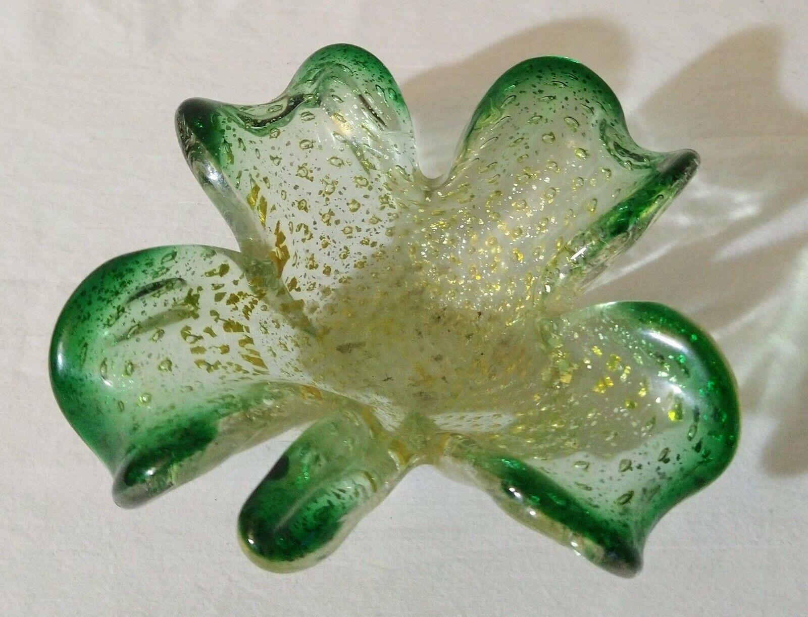 Vintage Murano Italian Art Glass Mid Century Modern Green W/Gold Fleck Bowl - $100.00