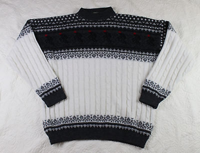 Vintage Wolsey Ski Sweater Made in Italy Wool Blend Large Skier Cable Knit m4