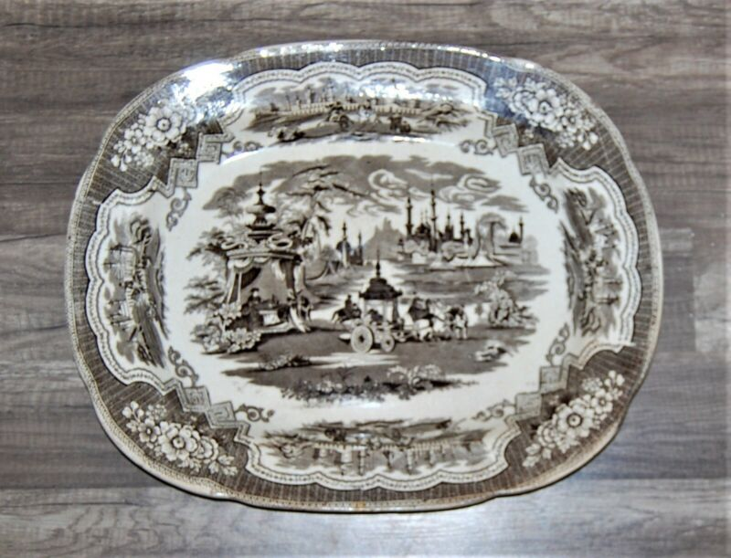English Victorian Pottery Damascus Brown Transferware Large Platter D Methuen