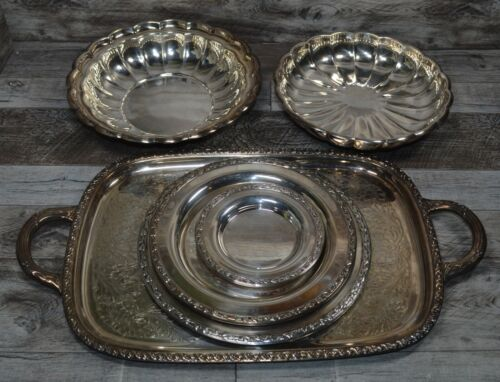 Lot of 6 Silverplated  Serving Platter Bowl Dish Wm Rogers Reed & Barton