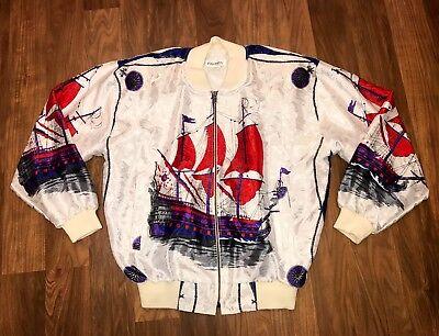 Vtg 80s Chardin High Fashion BOMBER Coat Fresh Prince MEDIUM windbreaker Jacket