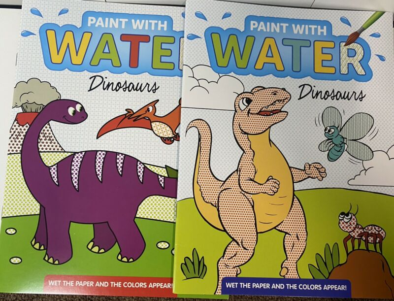 New (2) Paint With Water No Mess Kids Activity Books Dinosaurs Boys