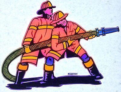 Fireman With Hose (Original Firemen With Hose Iron On Transfer Fireman)