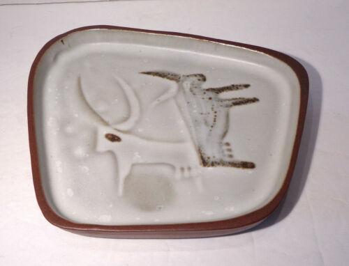 "Early Bennington Pottery Cooperative Design David Gil 7½"" Longhorn Bull Dish EUC"