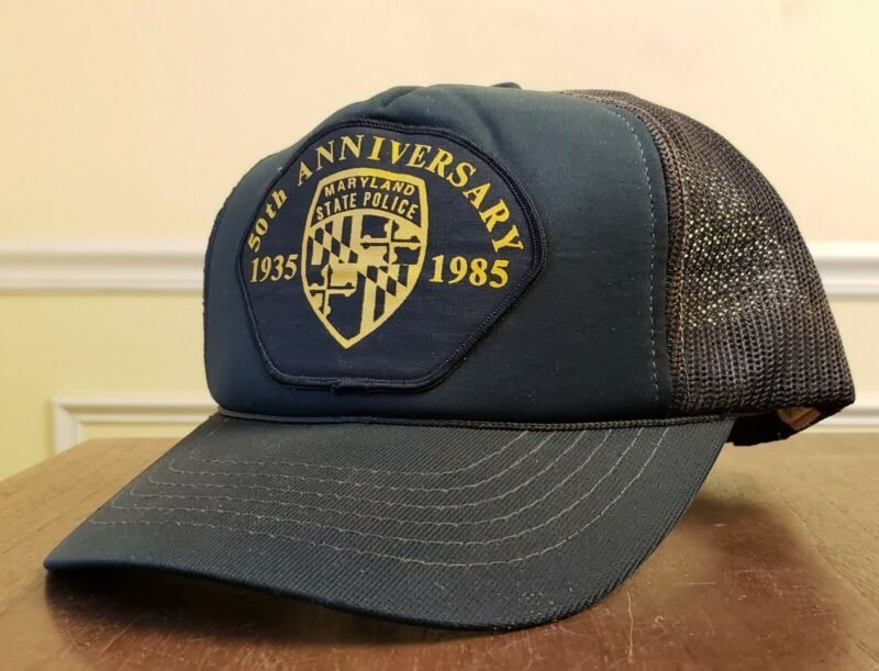 Maryland State Trooper Police Badge Patch Hat Trucker Cop VTG Mesh Snapback