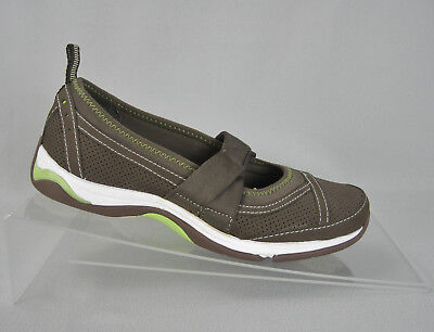 (Ryka Brown Leather Fabric Mary Jane Comfort Walking Sport Flats Womens 6 Shoes)