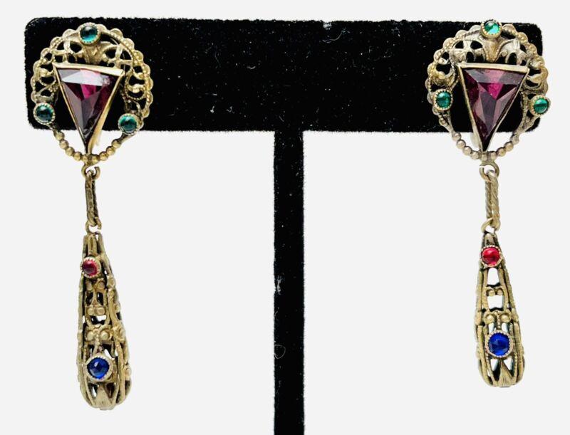 Vintage Antique Art Deco Czech Amethyst Glass Rhinestone Drop Dangle Earrings