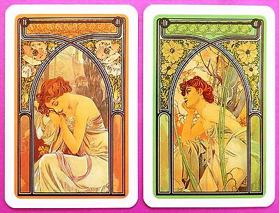 Pair Swap Cards  Sensual Women  Times Of The Day  Alphonse Mucha  Art Novea