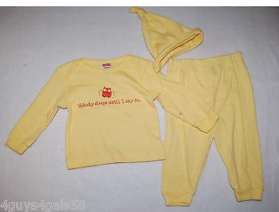Toddler Girls 3 Piece Outfit YELLOW Pants HAT Tee Shirt NOBODY SLEEPS 3-6 Mo](Toddler Yellow Hat)