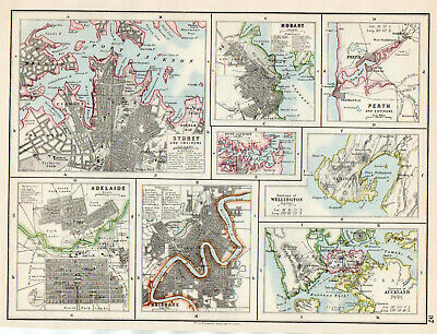 Map Sydney Adelaide Perth Brisbane Hobart W & AK Johnston 1902 Original Antique