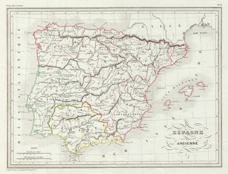 1843 Malte-Brun Map of Ancient Spain