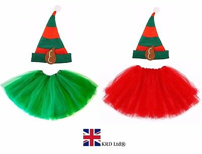 E Girls Christmas Party Fancy Skirt Dress Santa Helper UK (Kid Elfen Kostüme)