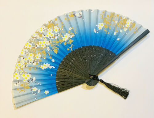 Cherry Blossom and Butterfly Design Bamboo Folding Fan Hand-held Fan Blue Color
