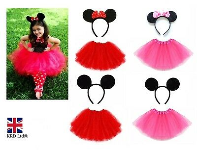 Kids RED PINK BOW MOUSE TUTU COSTUME Fancy Dress Halloween Ears Accessory Set UK (Red Tutu Halloween Kostüm)