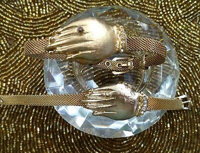 ( MESH GOLD PLATE HAND W FAUX DIAMONDS & SECRET LIFT UP CASE  L=7.5 ADJUST BUCKLE)