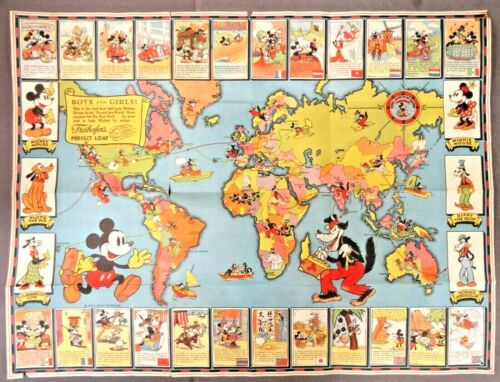 rare 1937 MICKEY MOUSE GLOBETROTTERS World MAP with all 24 Cards EXCELLENT bg