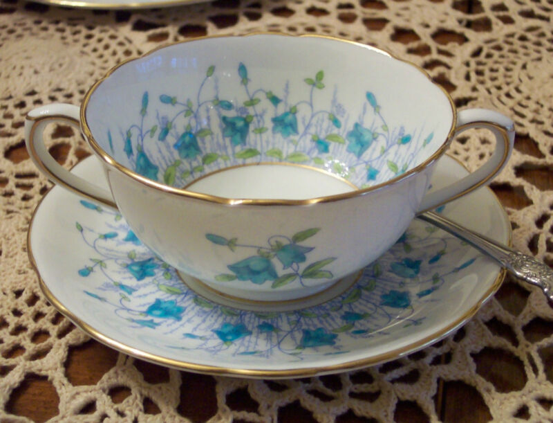 Coalport Harebell Turquoise (4 sets) Bouillon Cups & Saucers