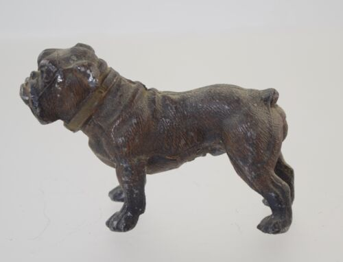 ANTIQUE SMALL GERMAN COLD PAINTED METAL BULLDOG FIGURINE GERMANY
