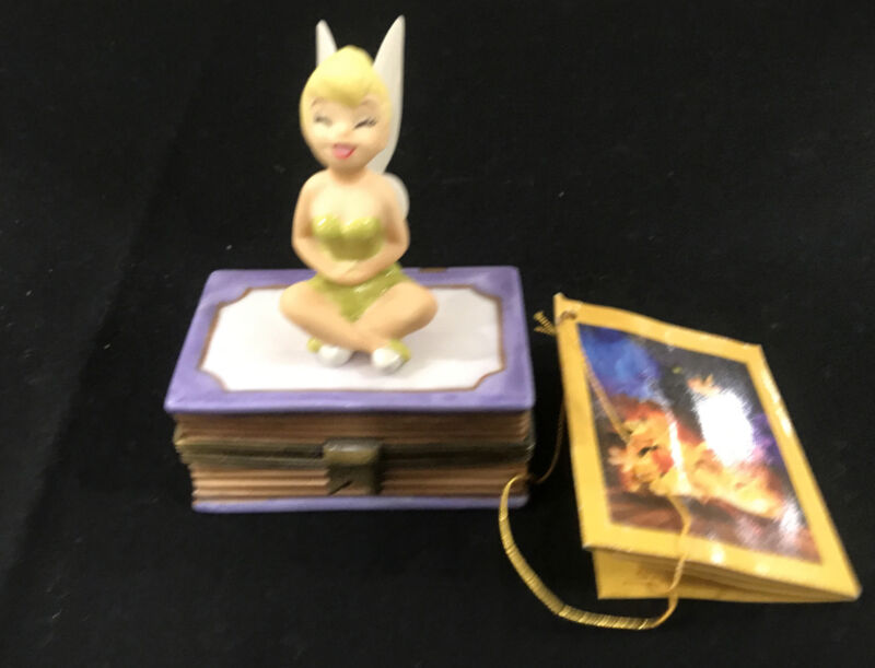 1998 Tinkerbell Trinket Box Sitting On Book Disney 75 Years of Love and Laughter