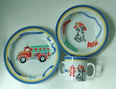 Tiffany Fire Station Child's Dish Set 2005 Tiffany & Co. Plate, Bowl and Cup