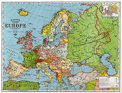 1920 Bacons Standard Wall Map Of Europe Art Poster Print Decor Vintage History