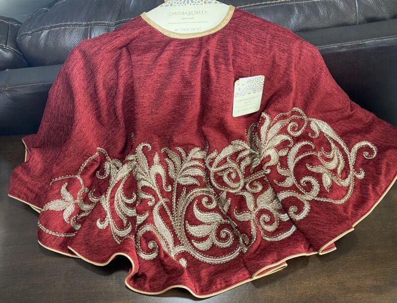 "Cynthia Rowley NEW!!! BEADED 50"" CHRISTMAS Tree Skirt Gold 50"" LUX GORGEOUS!"