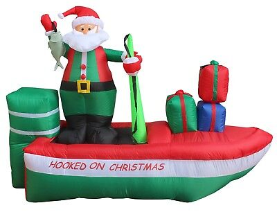 USED 8 Foot Long Christmas LED Inflatable Santa Claus on Fishing Boat Decoration