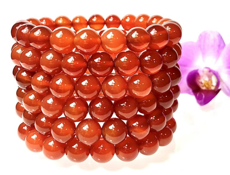 "Wholesale Lot 6 Pcs Natural Carnelian 10mm 7.5"" Crystal Healing Stretch Bracelet"