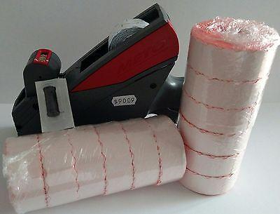 Meto 5s.26 Price Labeling Gun  Free 12 Rolls Fluro Red Labels  Ink Roller